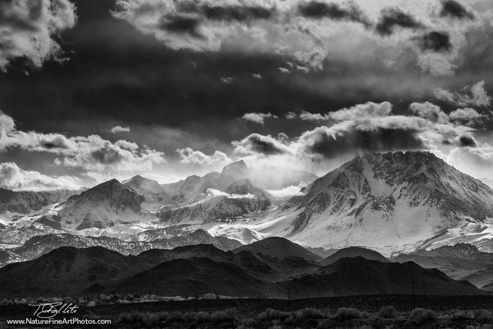 Black and White Photo of Sierra Mountains