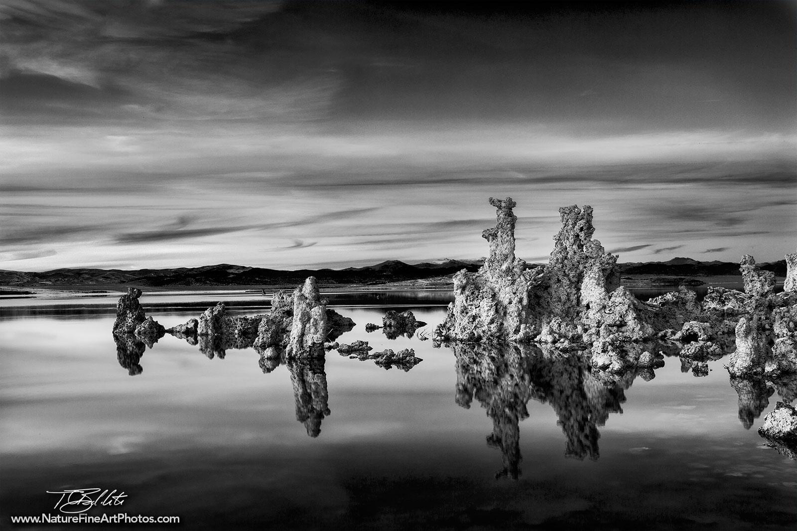 Black and white photo of mono lake