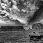 Black and White Photo of Monument Valley Horse