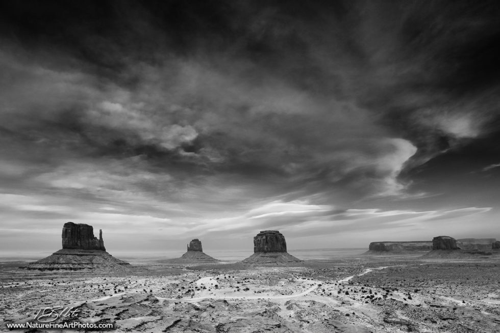 Black & White Photo of Monument Valley