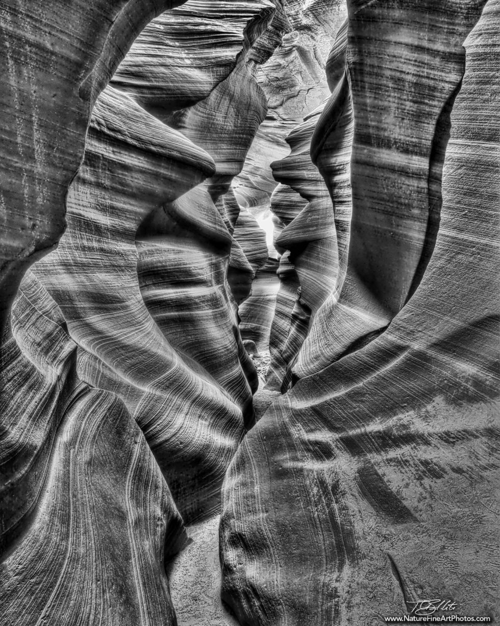 Black and White Photo of Antelope Canyon