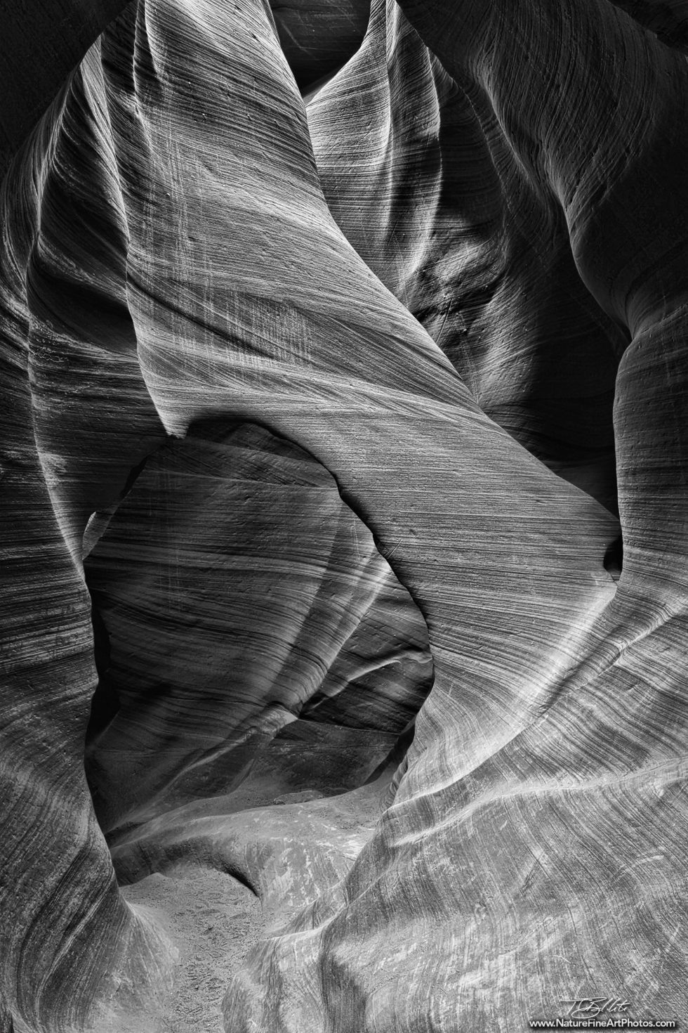 Black and White Photo of Arch in Antelope Canyon