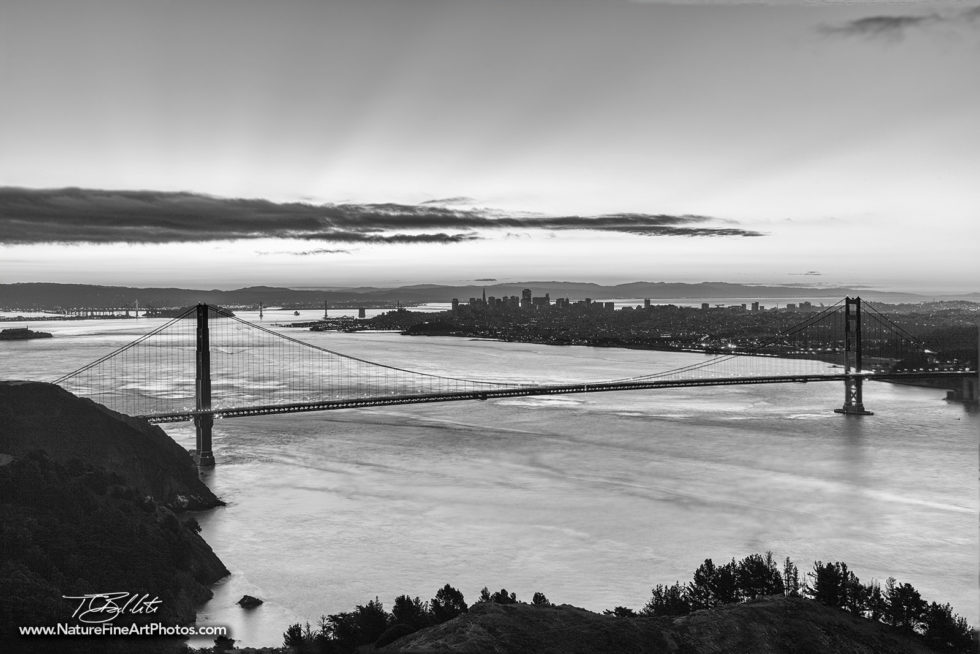 black and white photo of the golden gate bridge