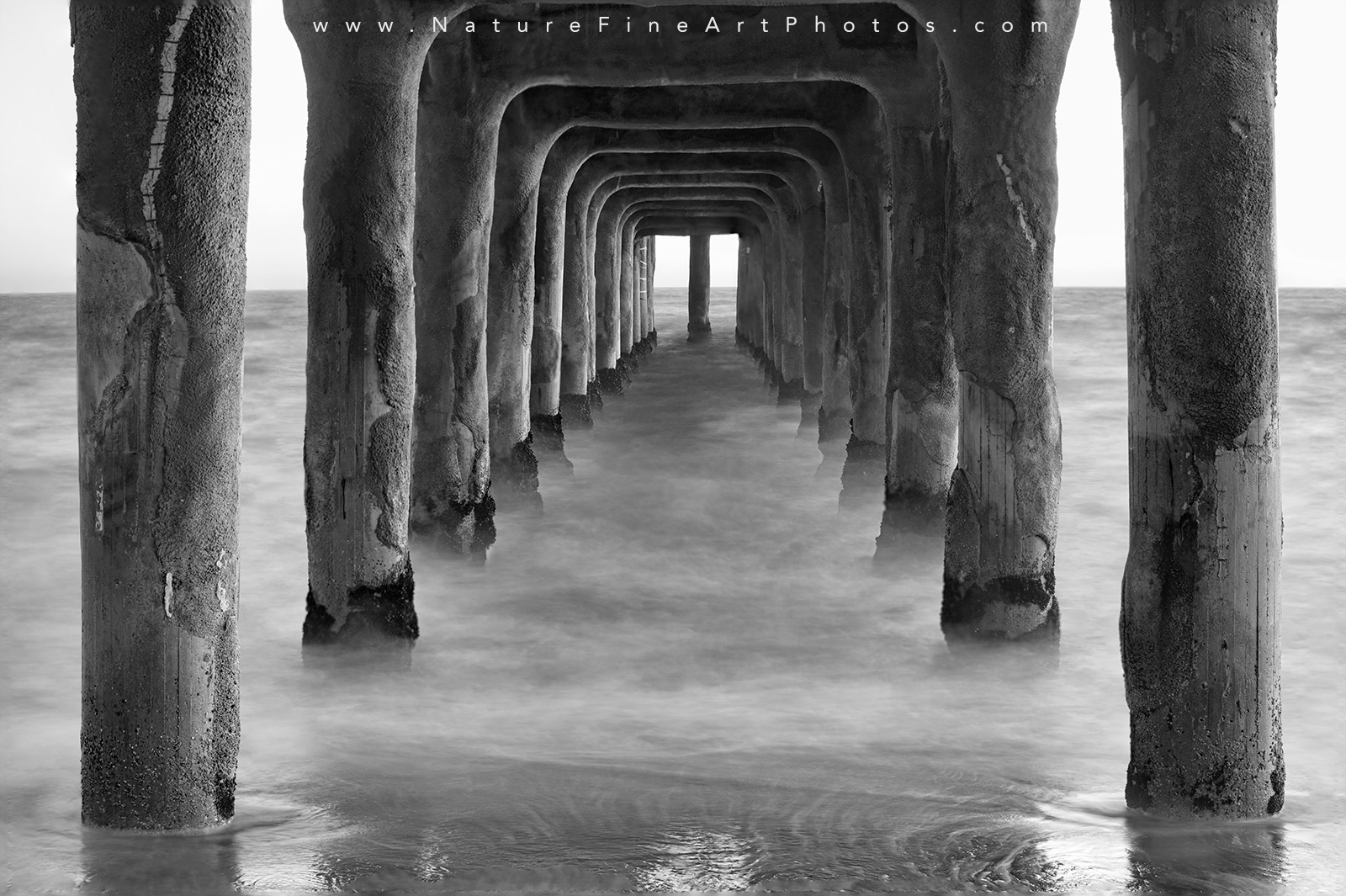 Ethereal manhattan beach pier black and white