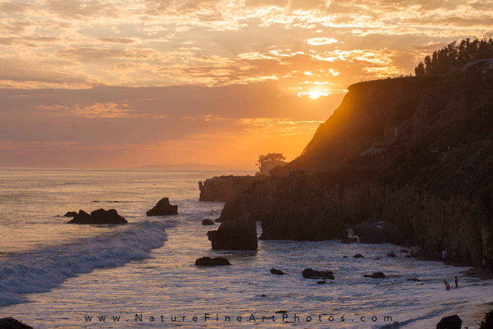 photo of sun setting at el matador beach in Malibu