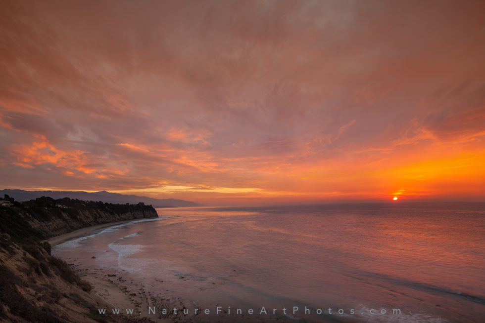 sunrise at point dume beach in malibu photo