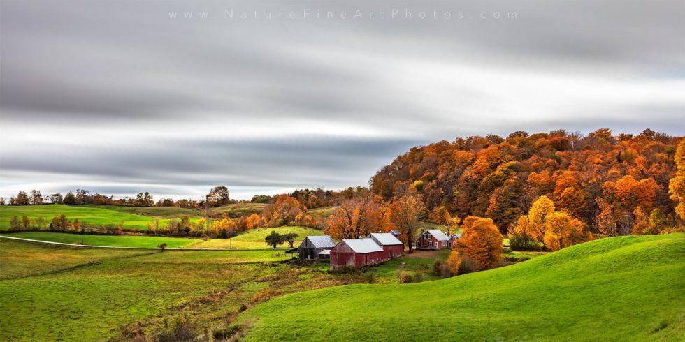 photo of Vermont Farm fall foliage panorama