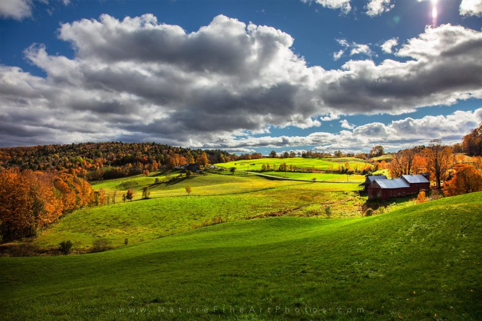 Vermont barn fall foliage with blue sky
